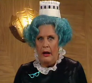 Mollie Sugden as Mrs. Slocombe with Green Hair on Are You Being Served.